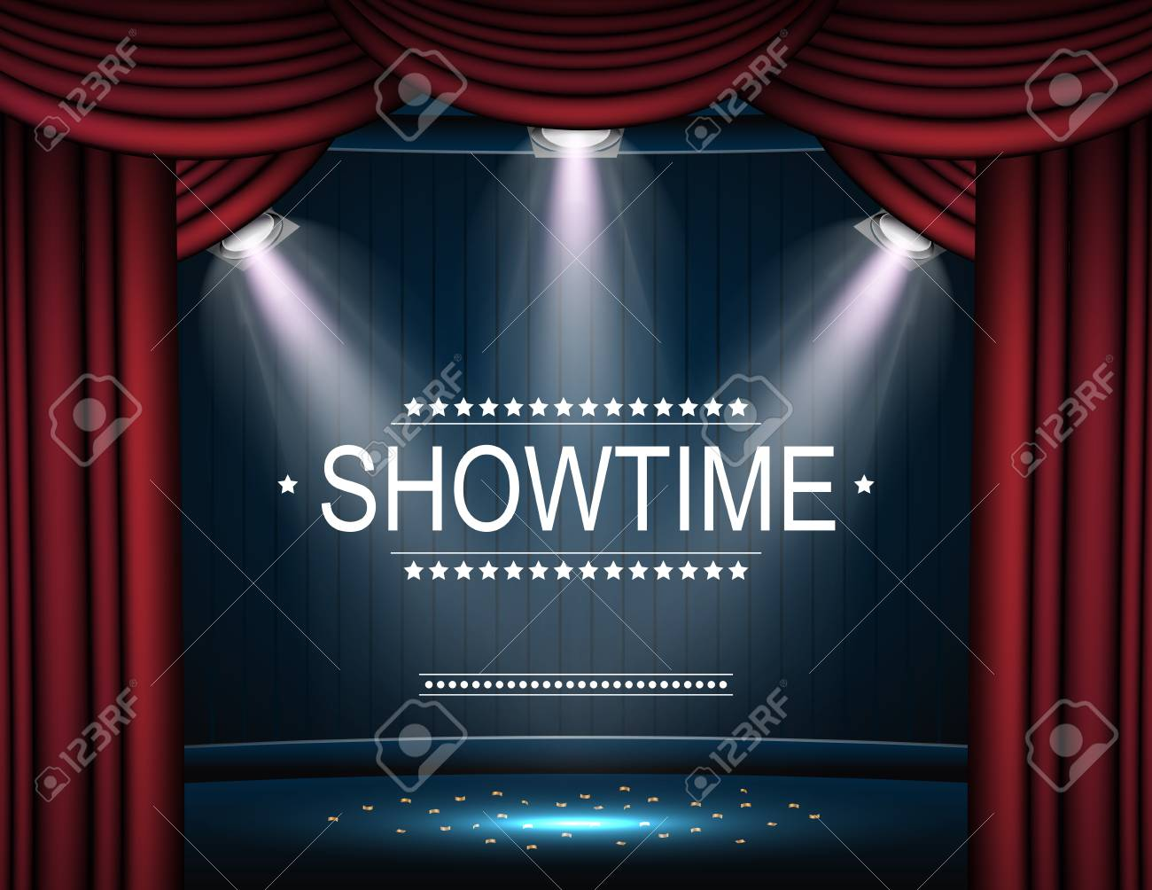 Vector Illustration Of Showtime Background With Curtain 1300x1004