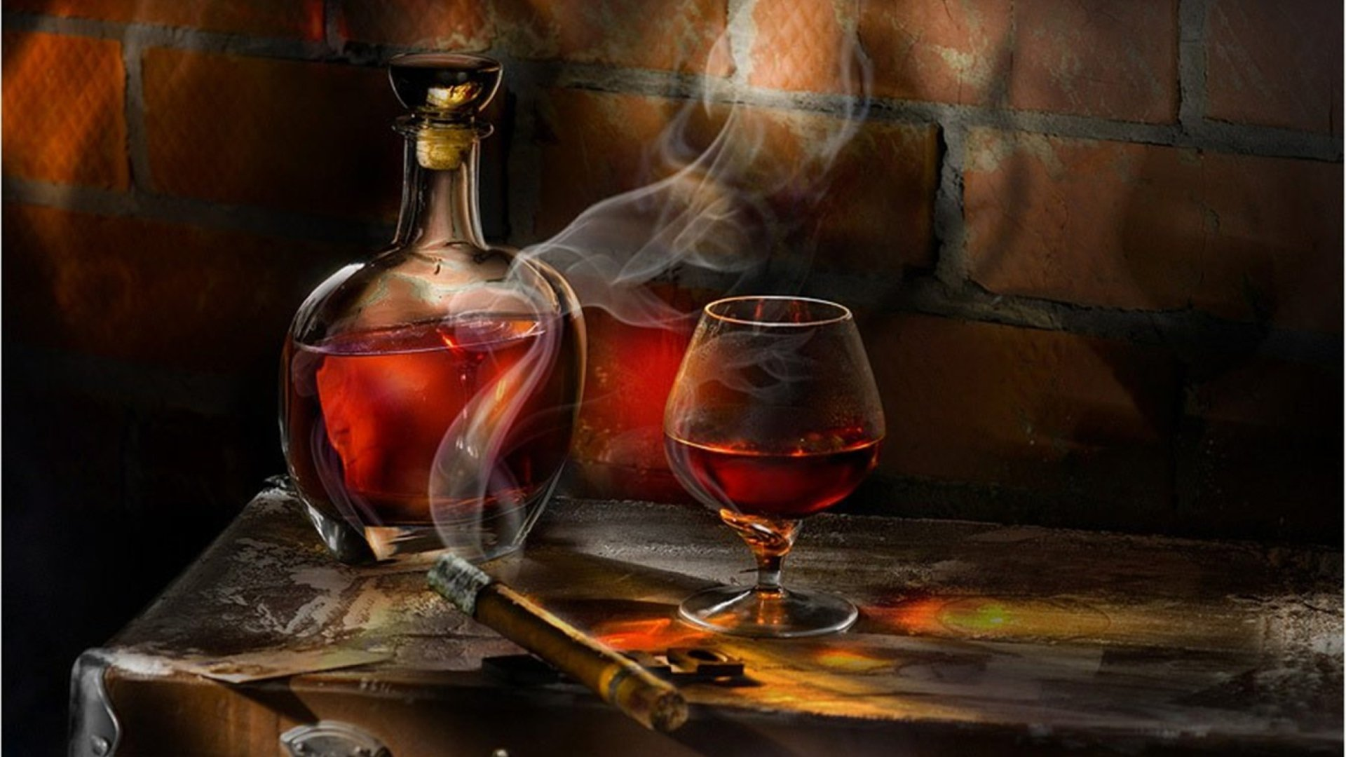 Whisky Glass With Cigar On The Table HD Desktop Wallpaper High