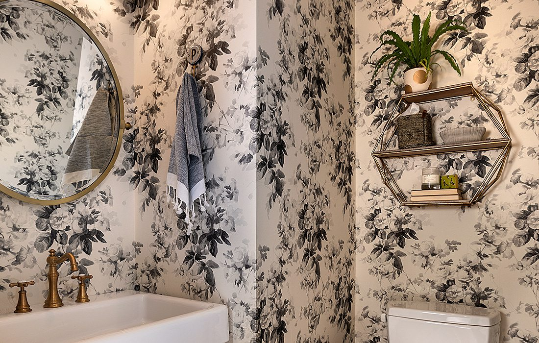 Bold Wallpaper in a Tiny Farmhouse Powder Room 1100x700