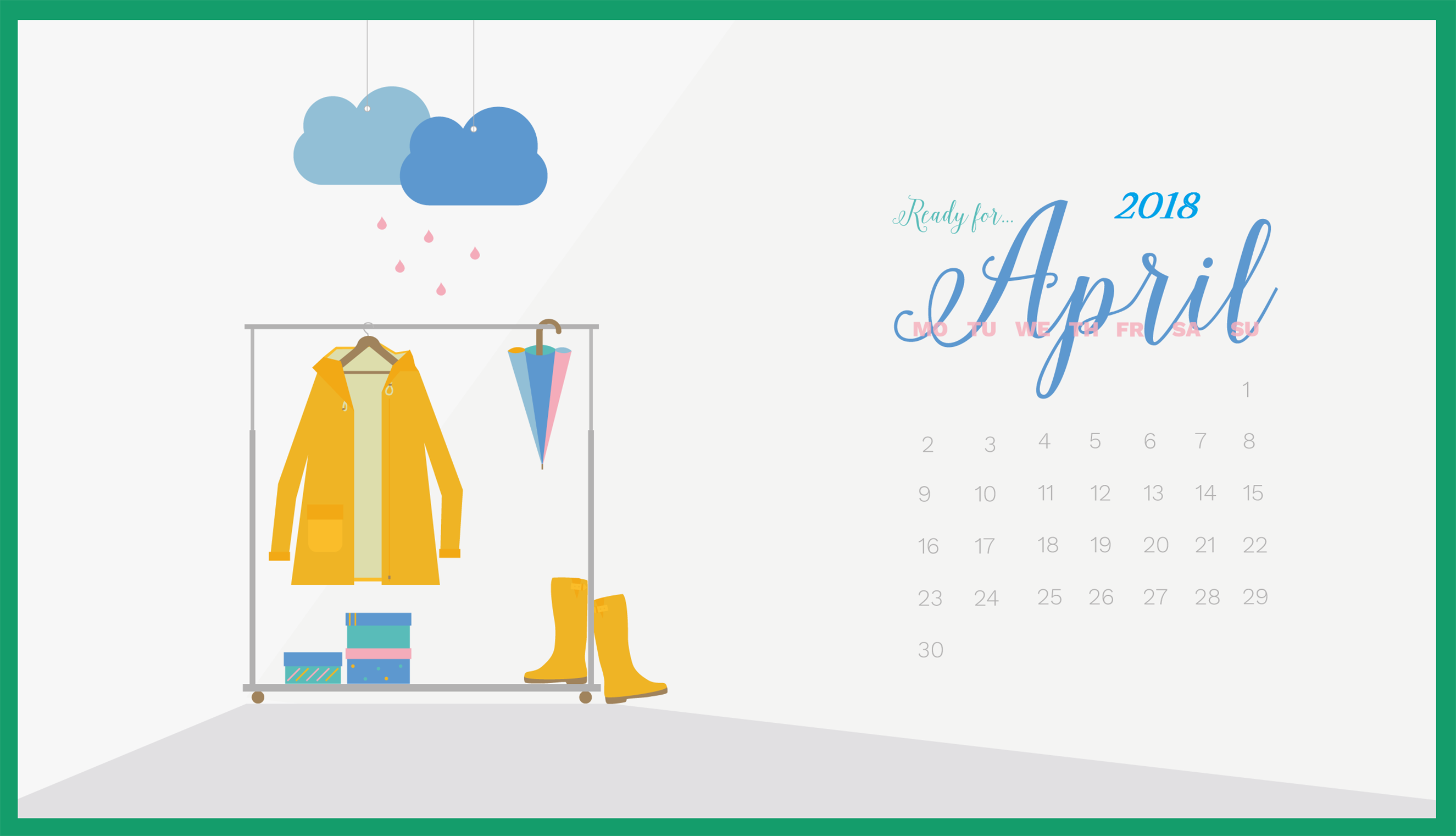 Wallpaper with April 2018 Calendar for PC iPad and SmartPhone 2650x1521