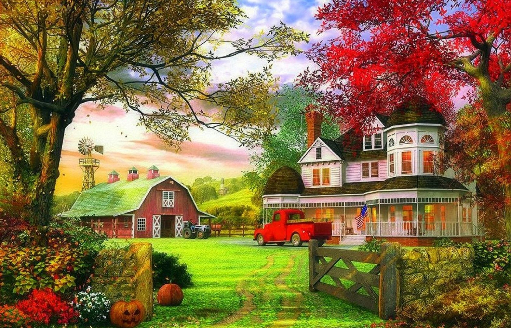 Farms Pumkin Farms Autumn Attractions Dreams Paintings 1680x1080