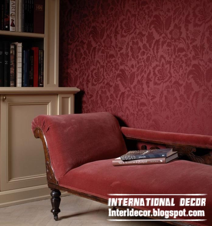 modern embossed wallpaper red for living room interior design 697x741