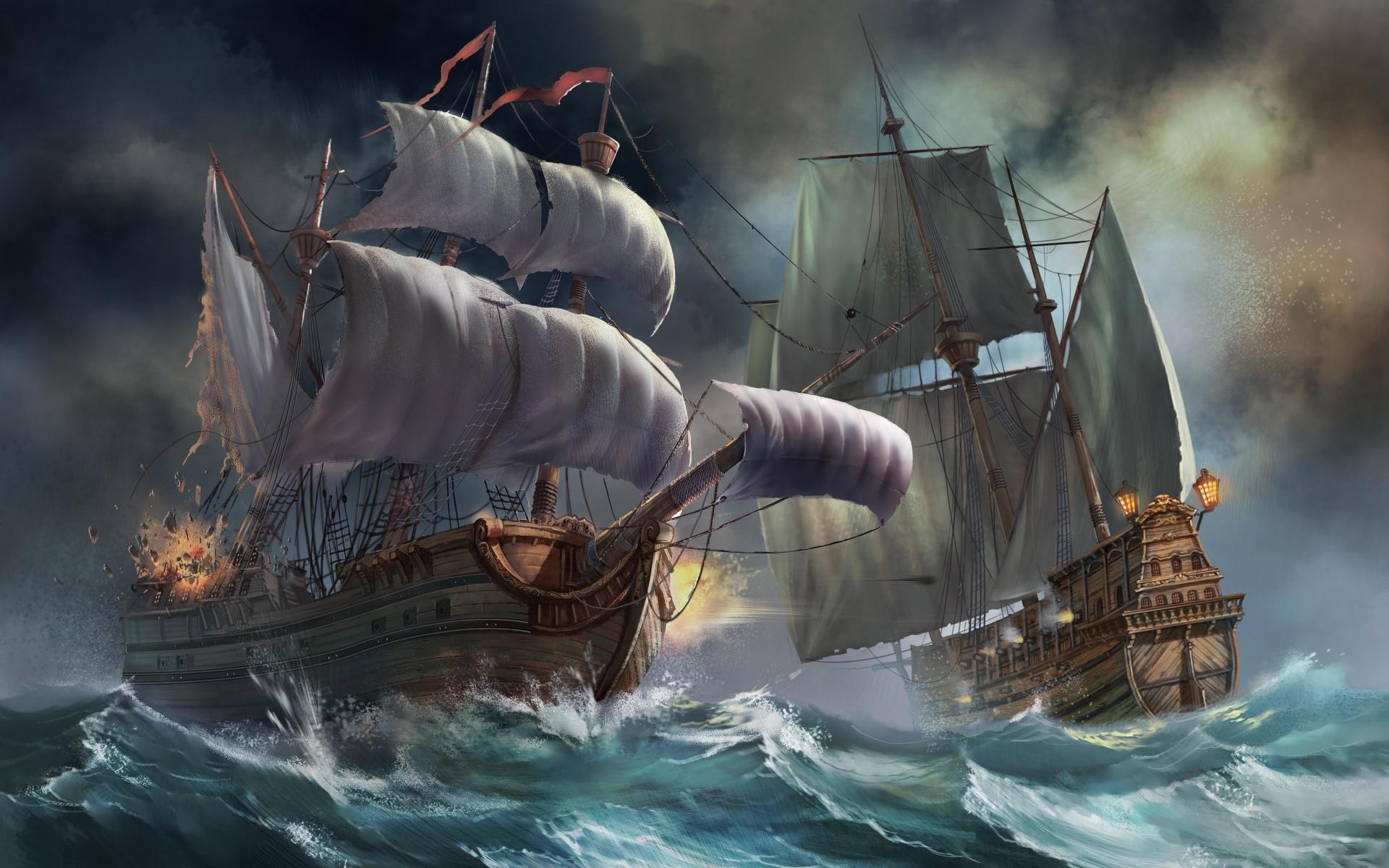 Pirate Ship Battle Wallpaper War ocean waves wallpaper 1920x1200