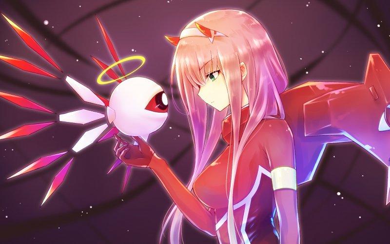 Desktop wallpaper anime girl robot zero two long hair 800x500