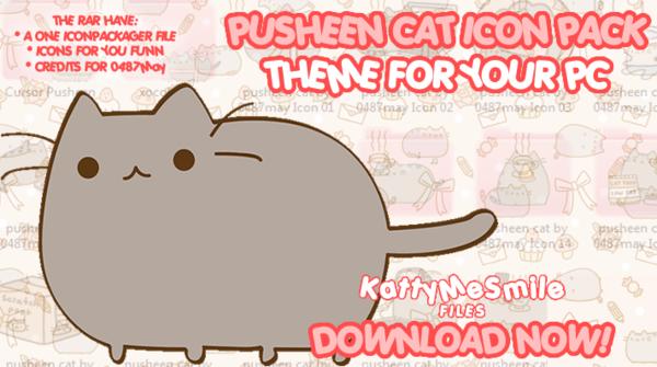 Pusheen Cat Icon Pack   Theme PC by KattyMeSmile on deviantART 600x335
