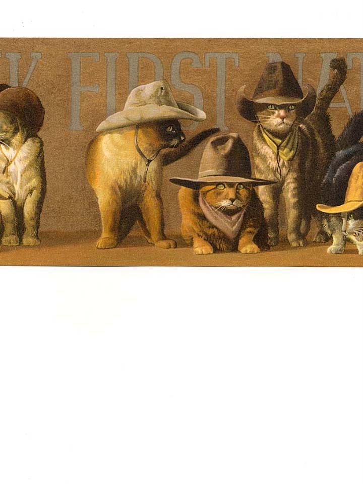Details about Wallpaper Border Western Cowboy Cats Kitties Tan Hats 720x960