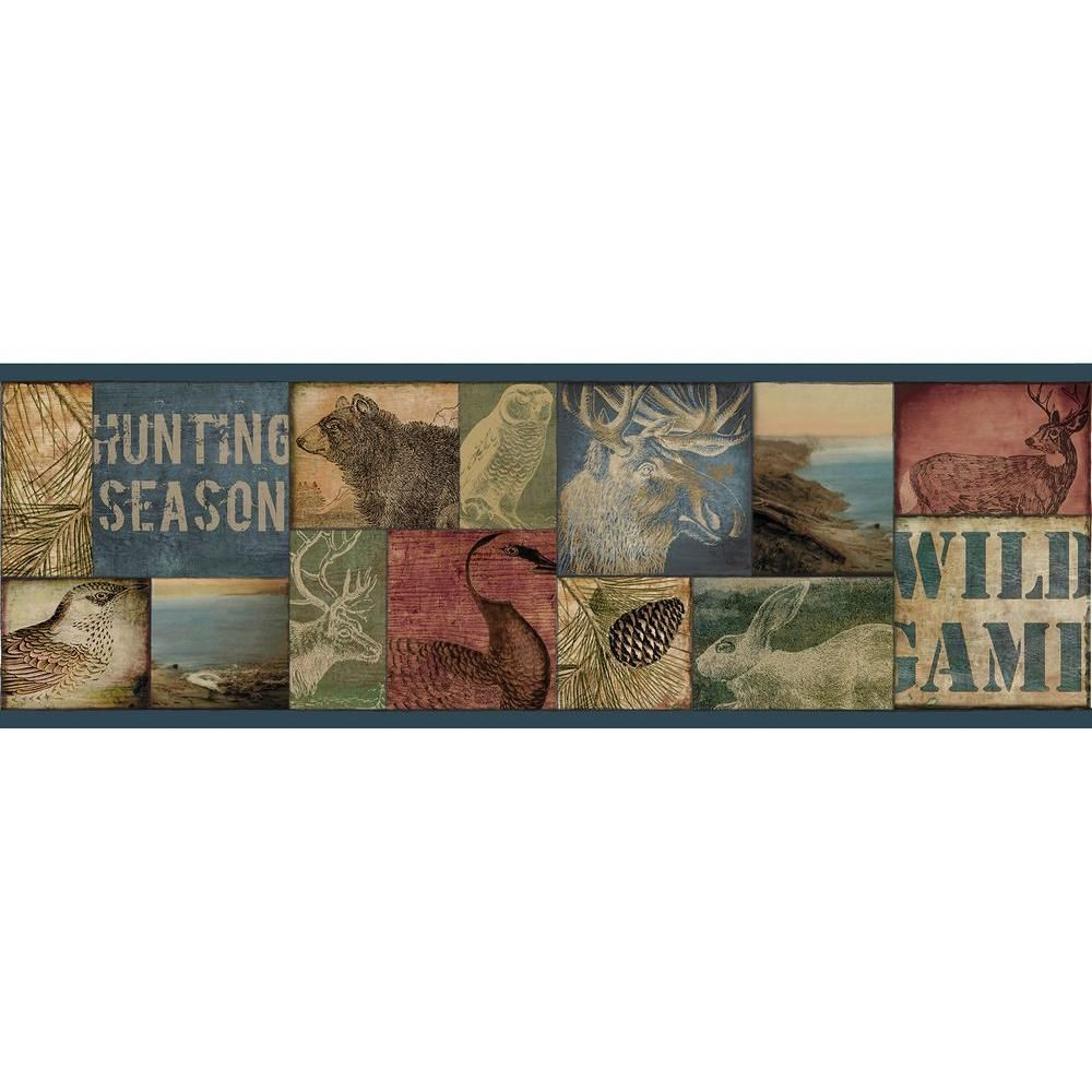 Trumball Teal Wild Game Wallpaper Border Sample Products Echo 1000x1000