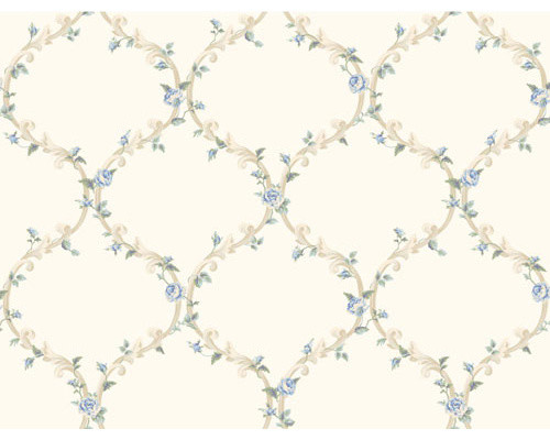 White and Blue Elegant Rose Trellis Wallpaper eclectic wallpaper 500x400
