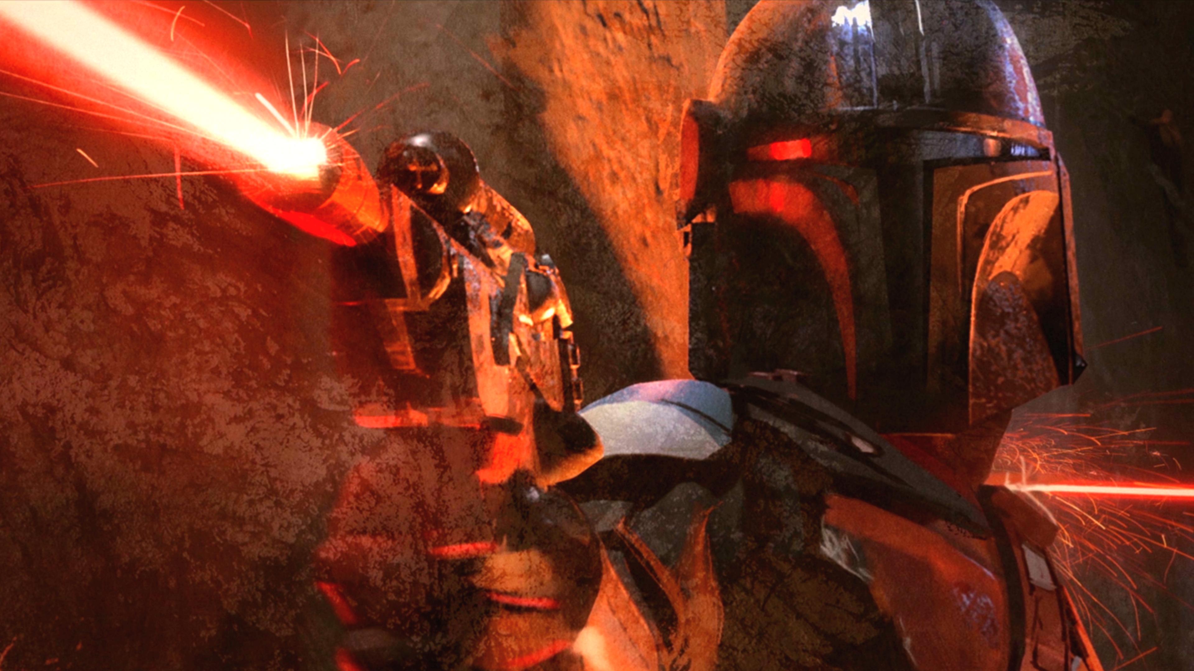 The Mandalorian end credits artwork super enhanced 4K [3840x2160 3840x2160