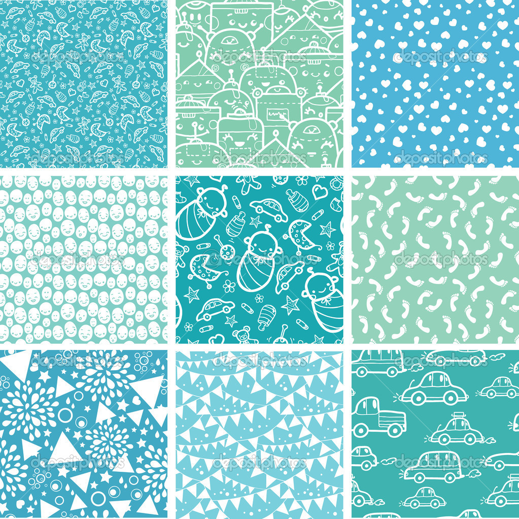 baby boy blue backgrounds Nine baby boy blue seamless patterns 1023x1022