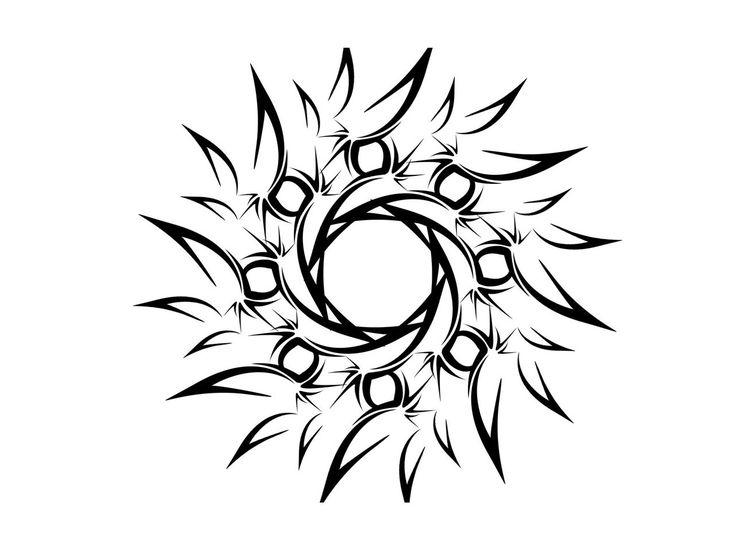 simple male tattoo designs designs   Tribal sun simple tattoo 736x552
