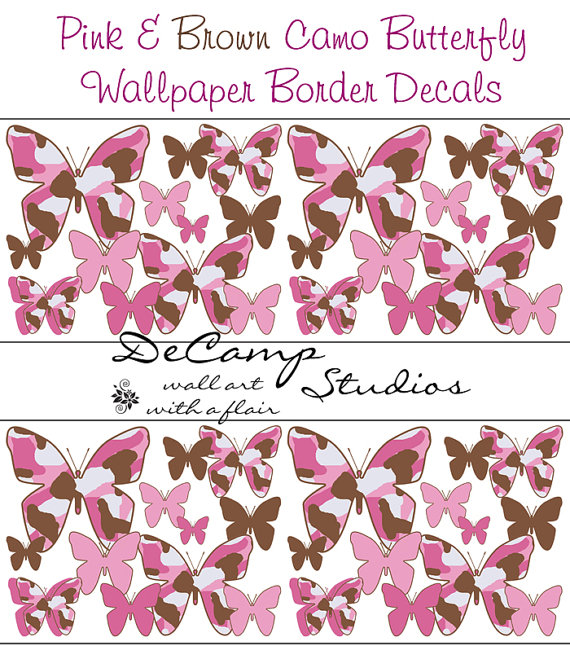 PINK BROWN CAMO butterfly wallpaper wall border decals baby girl 570x659