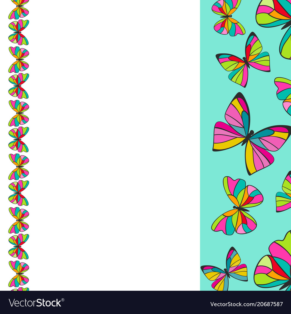 Colorful butterflies border background design Vector Image 1000x1080