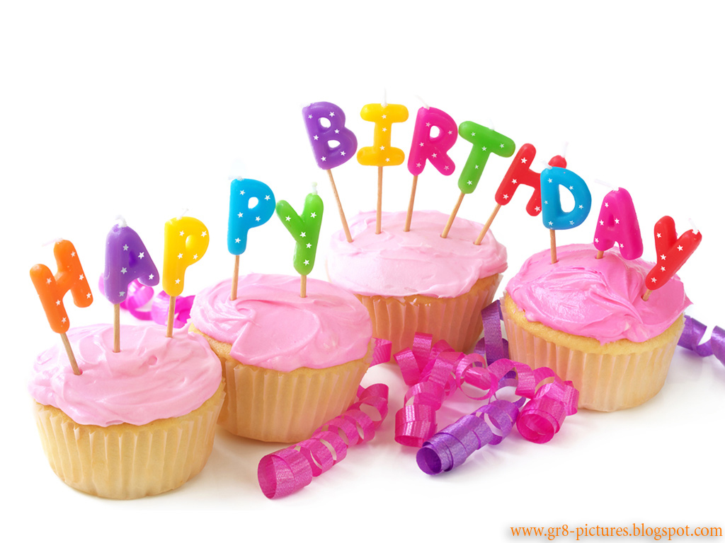 Happy birthday cake and letters wallpaper 1024x768