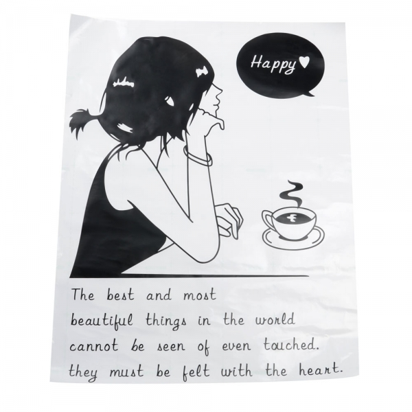 All matching Removable Wallpaper Wall Stickers with Coffee and Girl 600x600