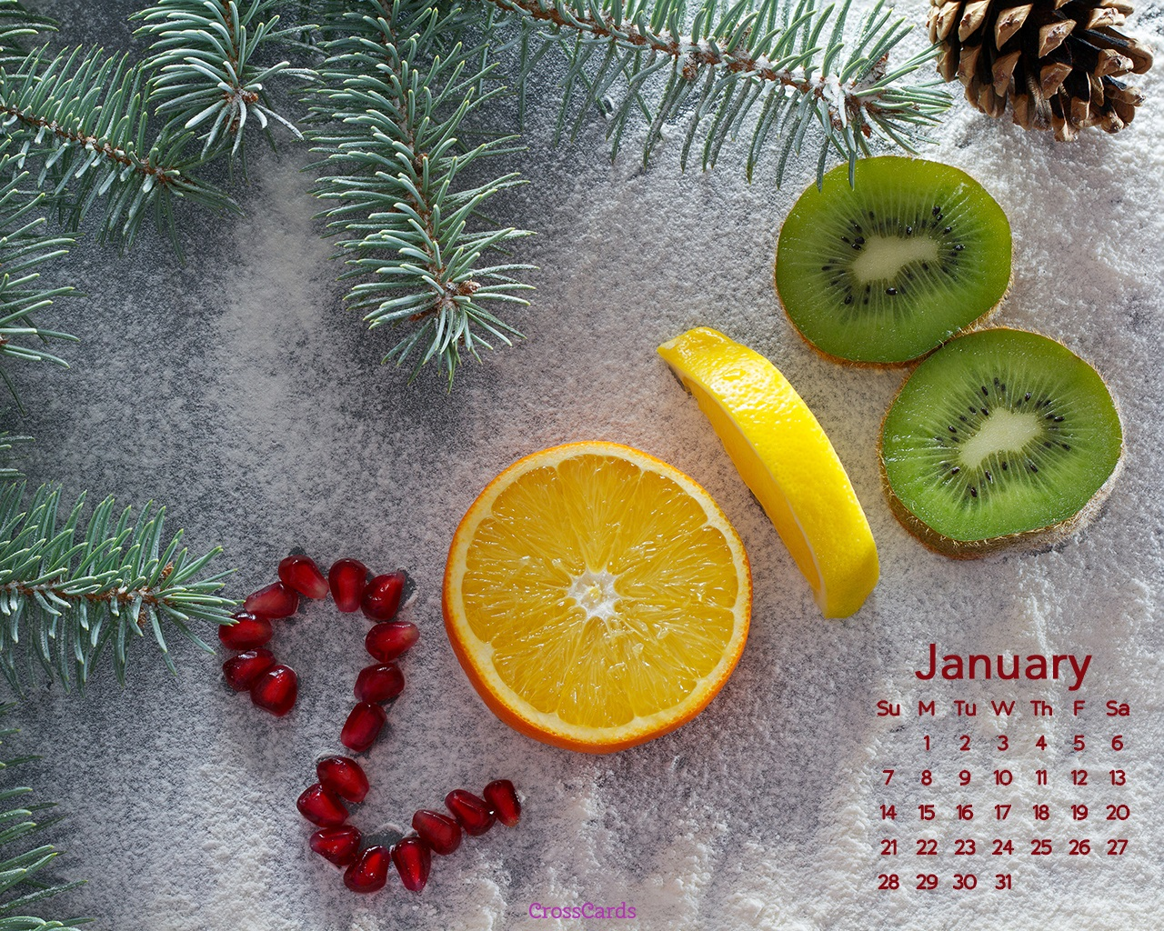 January 2018   Fruit Desktop Calendar  January Wallpaper 1280x1024