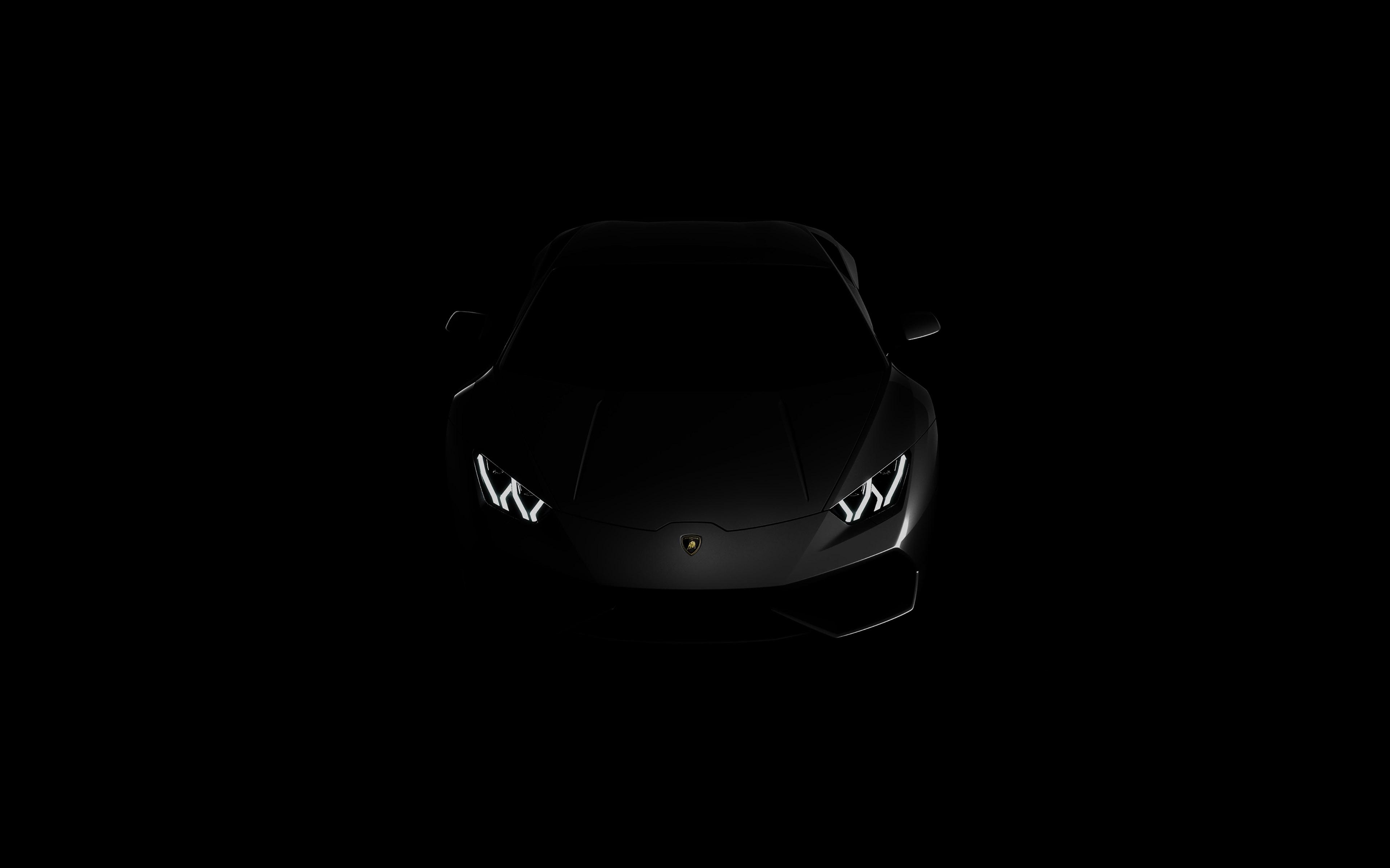 Lamborghini huracan lp black dark 4k wallpaper View HD 3840x2400