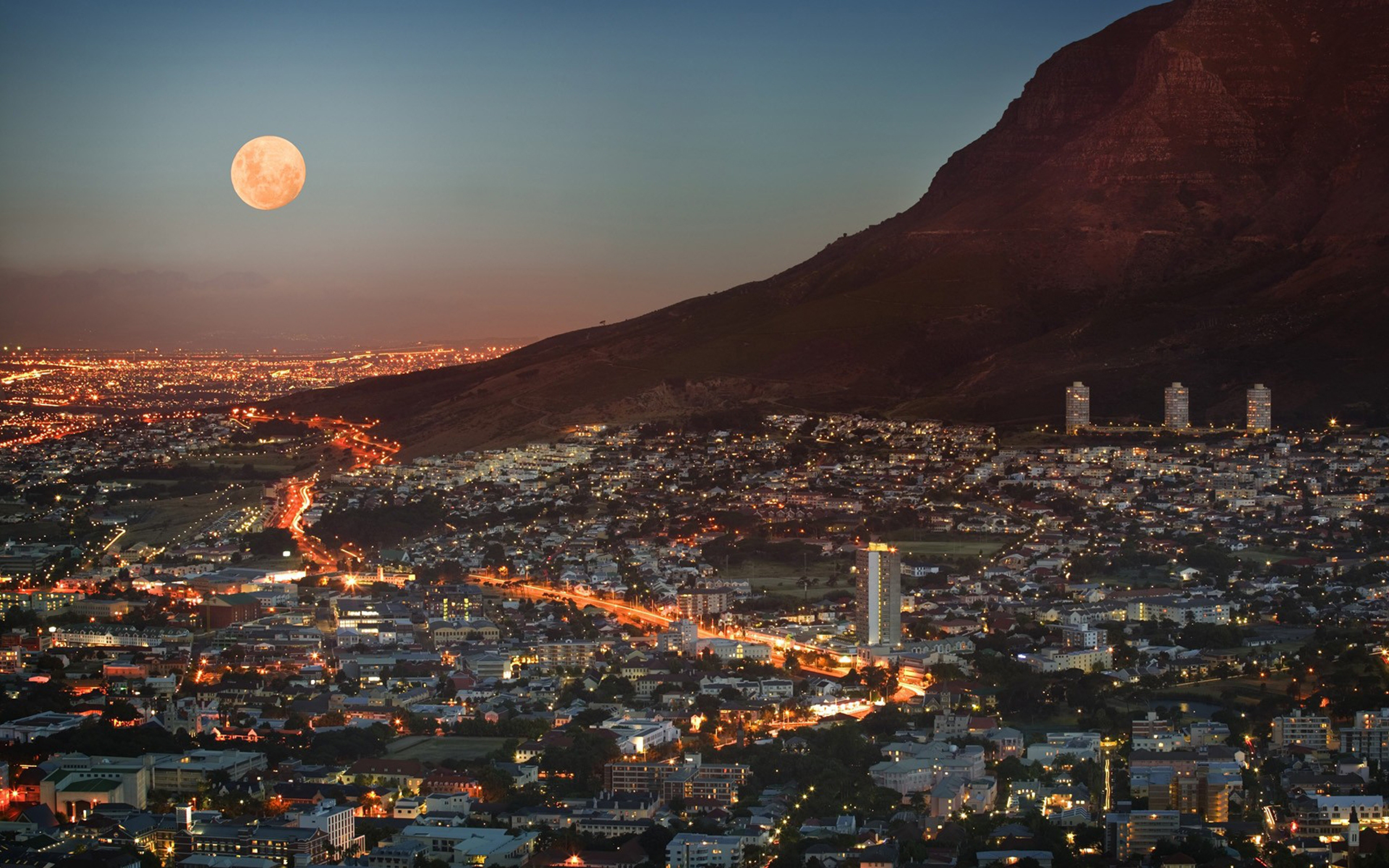 Sky Moon Mountain View Elevation Wallpaper Background Ultra HD 4K 3840x2400