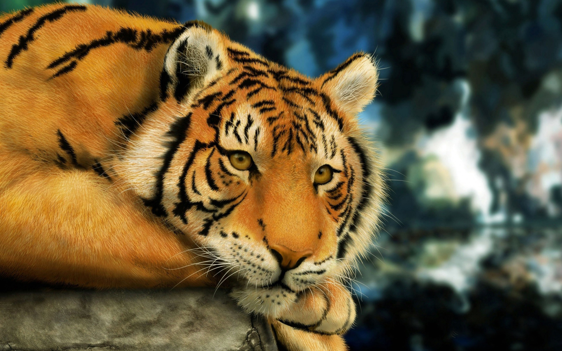 Tiger Painting computer desktop wallpapers pictures images 1920x1200