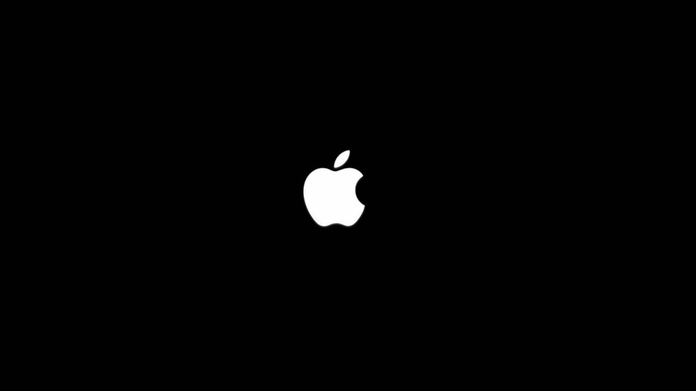 Apple Logo on Black   Apple Wallpaper 1366x768