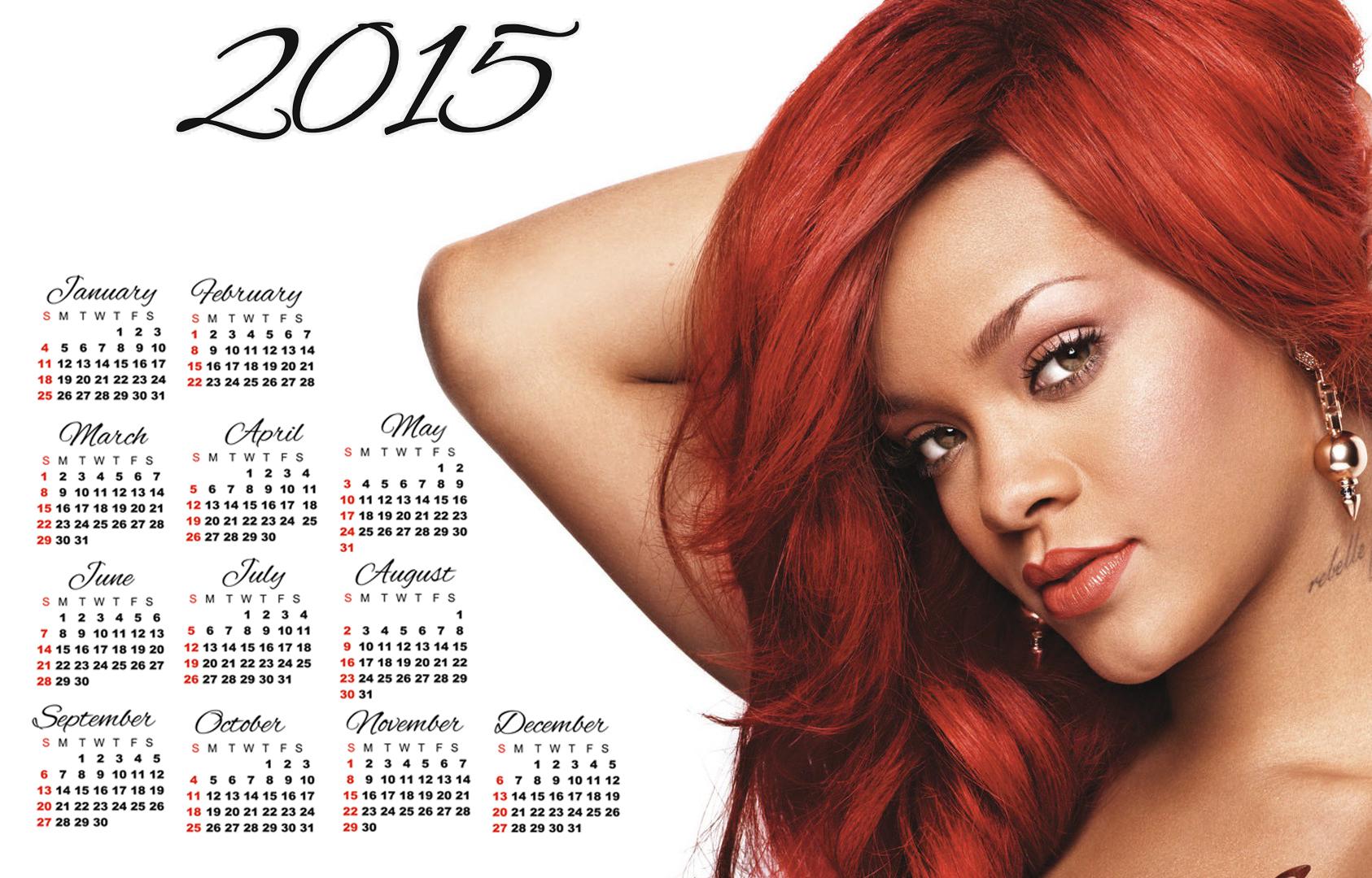 Rihanna long red hair style wallpaper calendar 2015 1686x1080