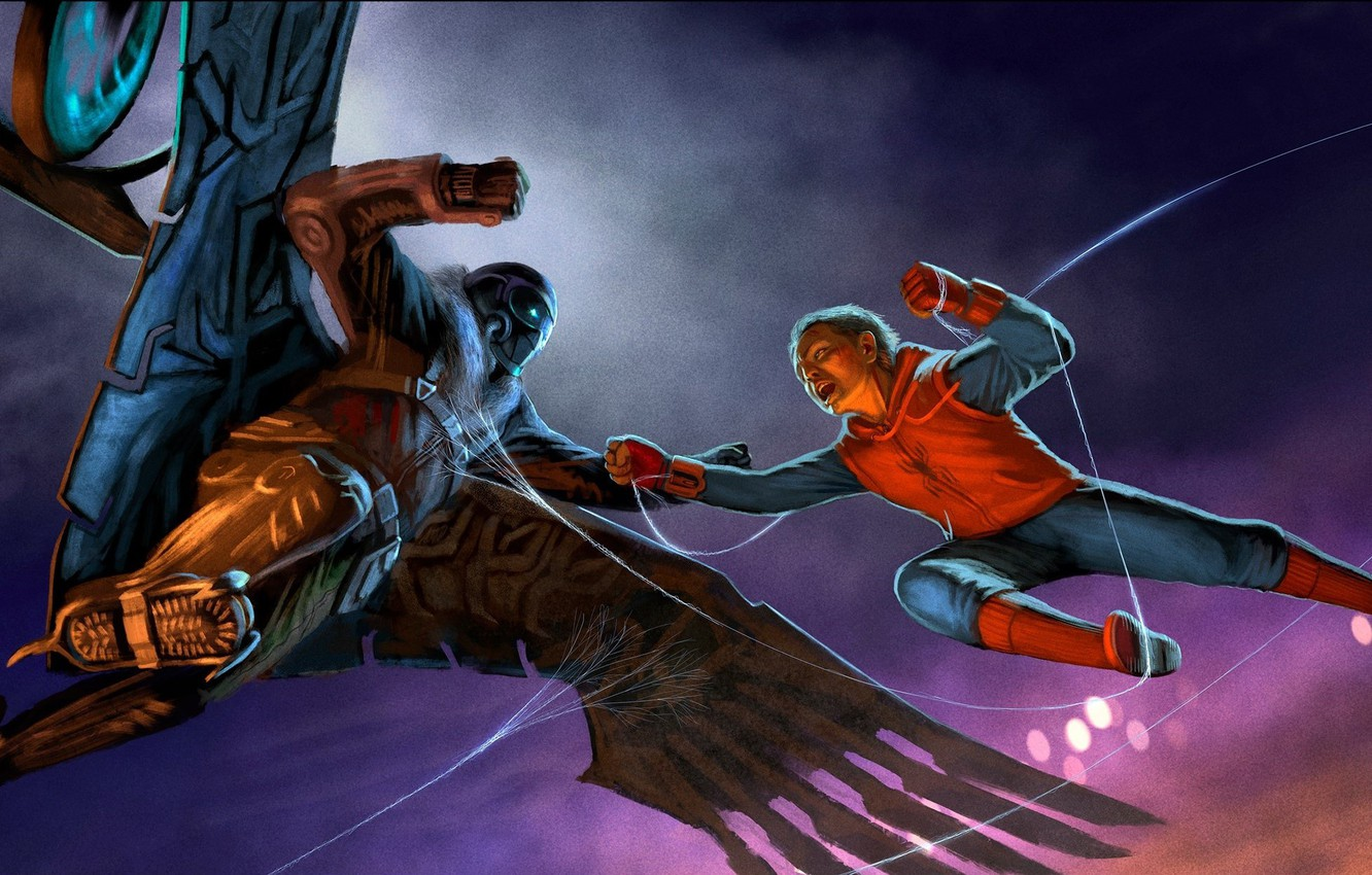 Wallpaper art spider man peter parker vulture spider man 1332x850