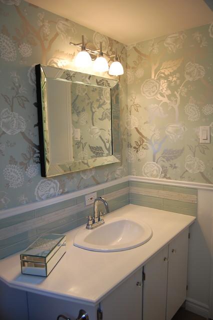 Houzz Powder Room Wallpaper Wallpapersafari Bathrooms