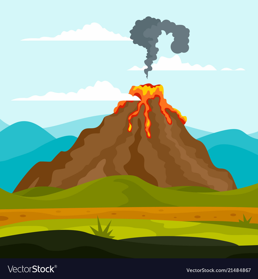 Eruption volcano background flat style Royalty Vector 1000x1080
