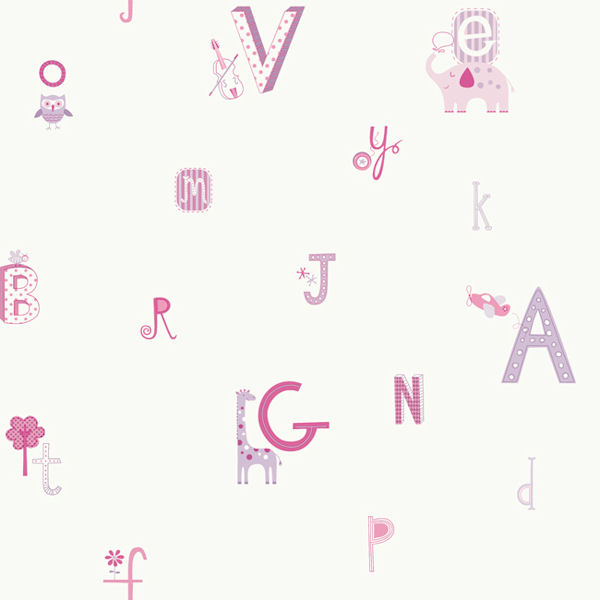 ABC Pink Prepasted Wallpaper   Wall Sticker Outlet 600x600