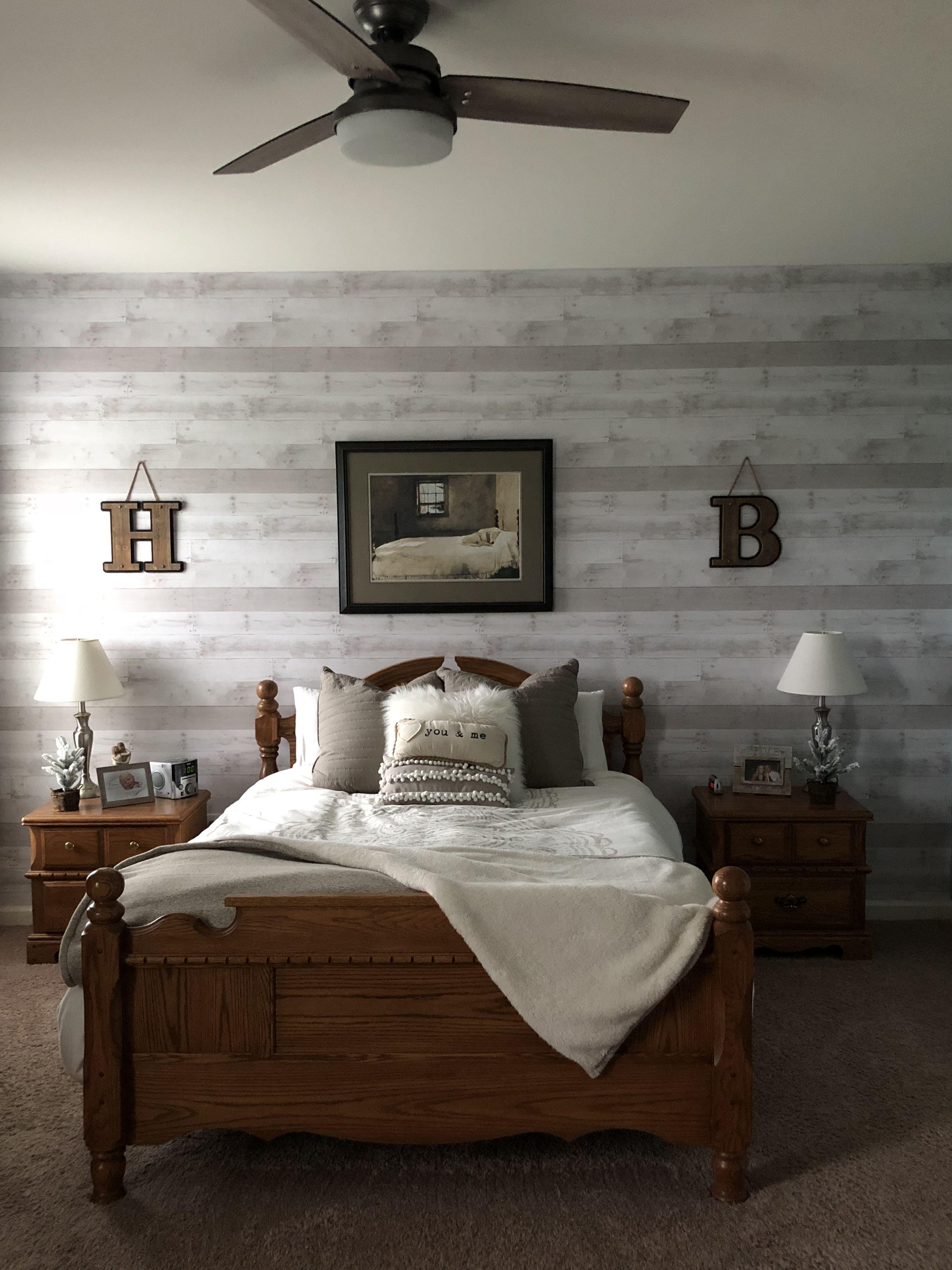 Farmhouse bedroom master bedroom faux shiplap wallpaper 3024x4032
