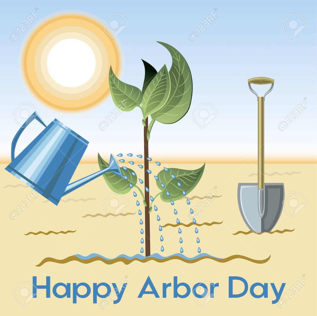 Happy Arbor Day Banner Background Design With Water Plant And 1300x1299
