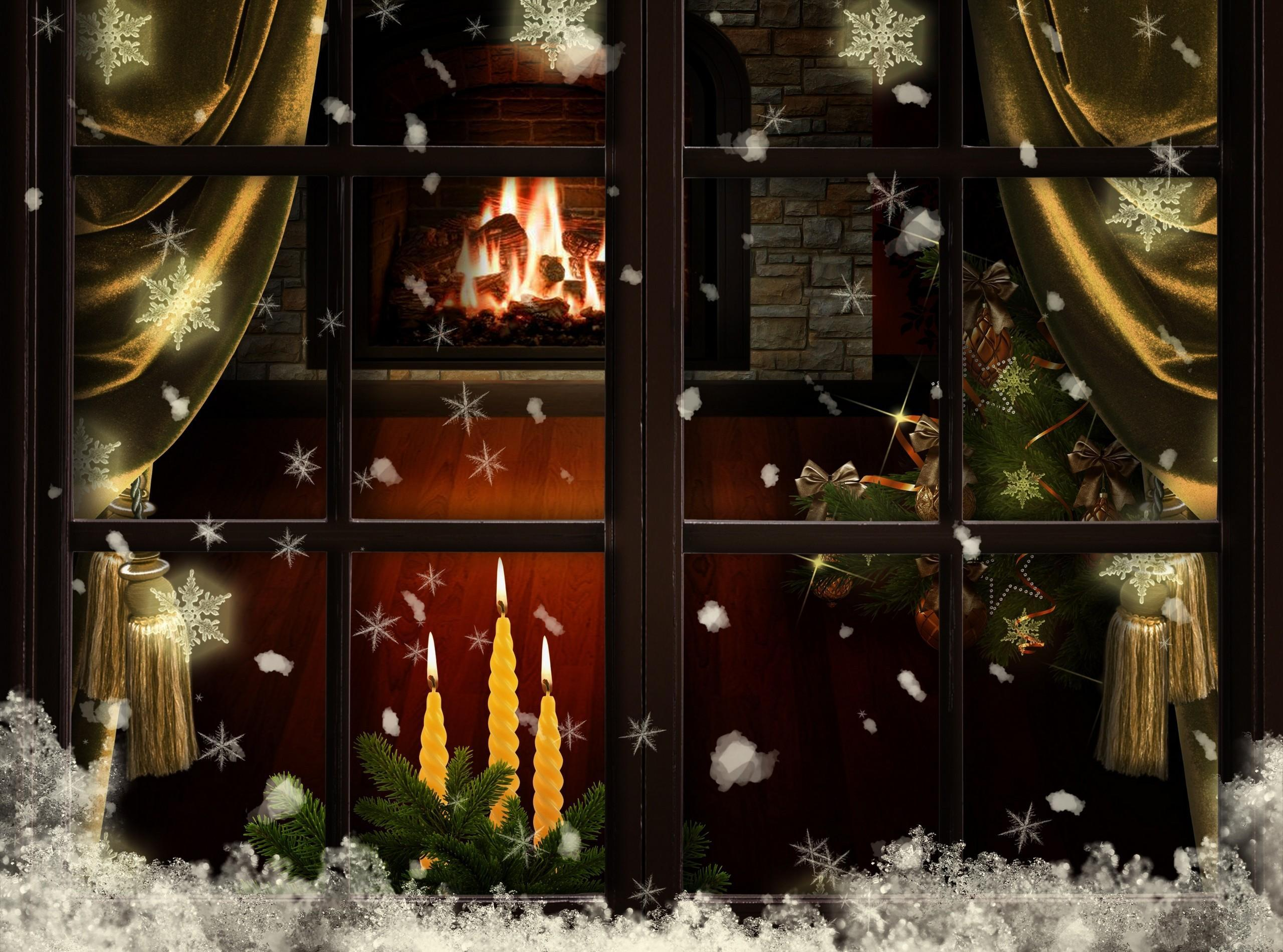 Window fireplace candles christmas tree cozy 2560x1900