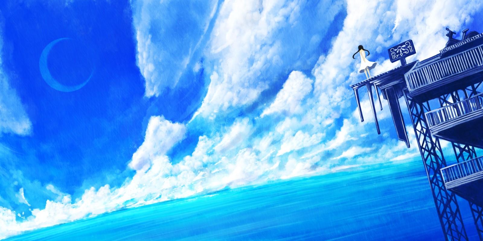 Water Laying Anime Girl 1600x800