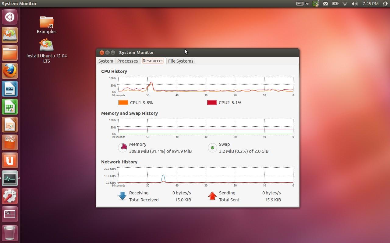 ubuntu 12 04 desktop with system monitor freshly booted ubuntu 1280x800