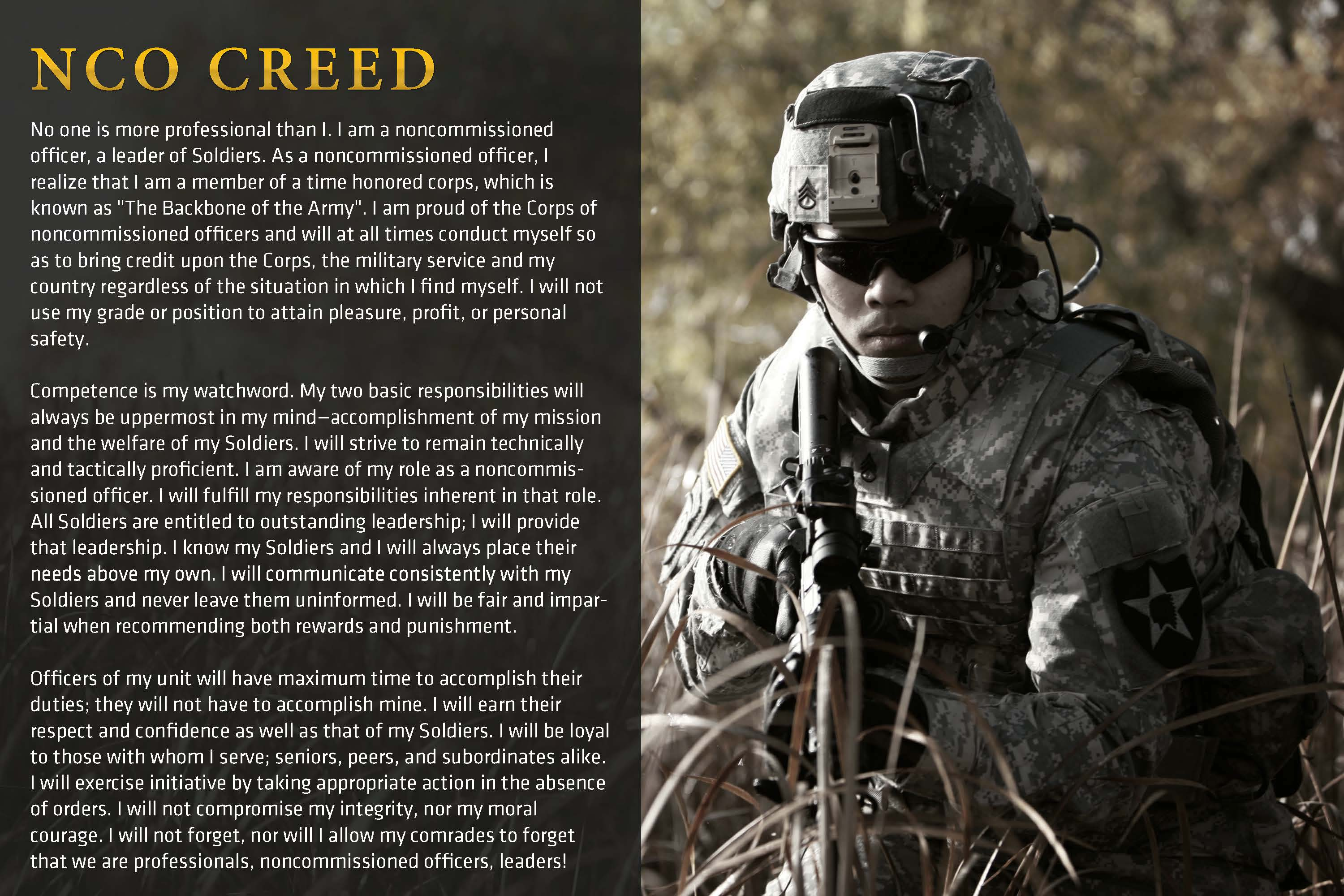 The NCO Corps and The NCO Creed 3000x2000