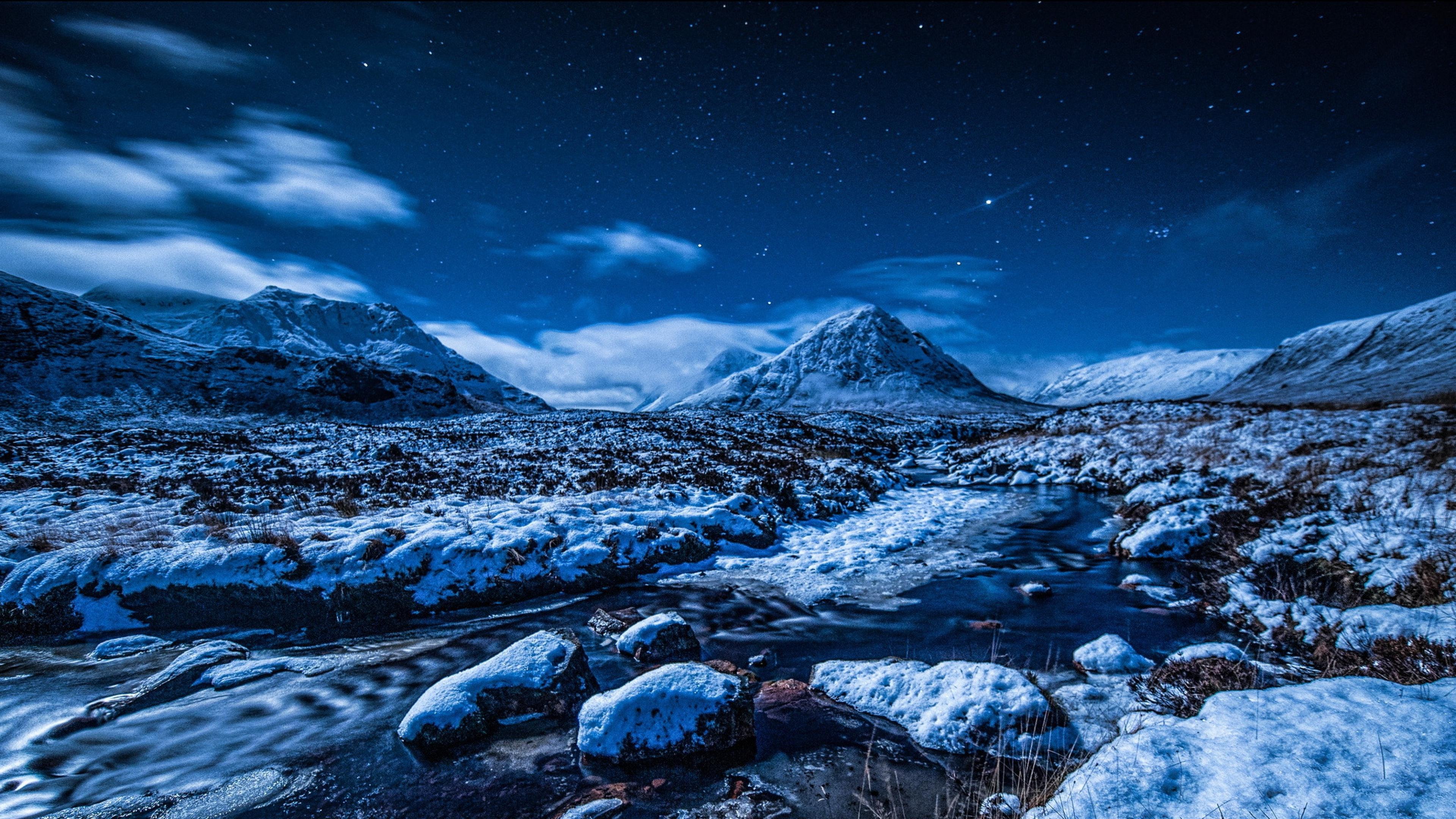 3840x2160 Wallpaper night sky stars mountains stream snow winter 3840x2160