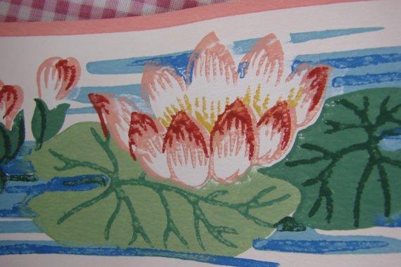 SALE SALE SALE VINTAGE 1940s ERA WALLPAPER BORDER LOTUS FLOWERS FLORAL 570x380