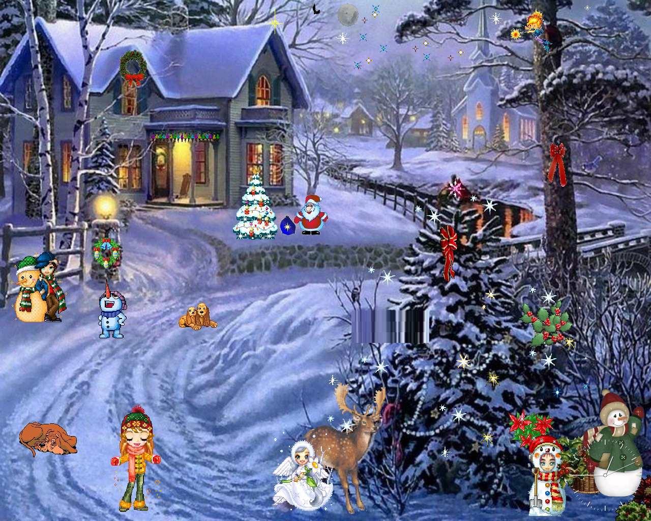 Christmas Scenes Desktop Wallpaper newhairstylesformen2014com 1280x1024