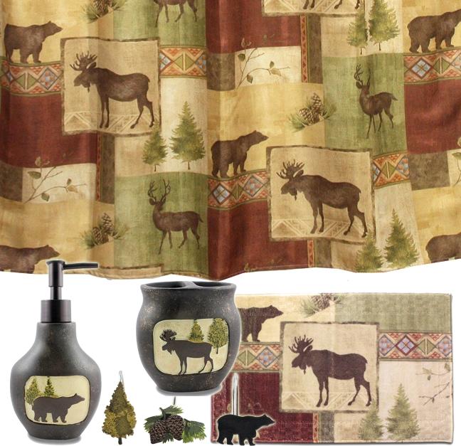 Mountain Moose and Bear 5 Piece Bath Set cabin decor shower curtain 648x627