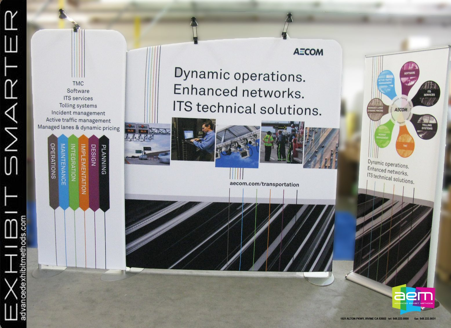 Large background graphic for the AECOM modular trade show booth 1556x1132
