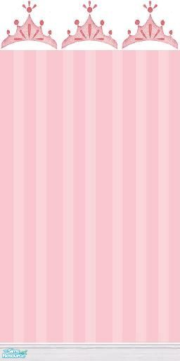 mermaidoftheniles Pretty Princess Crown and Pink Pinstripe Wallpaper 256x512