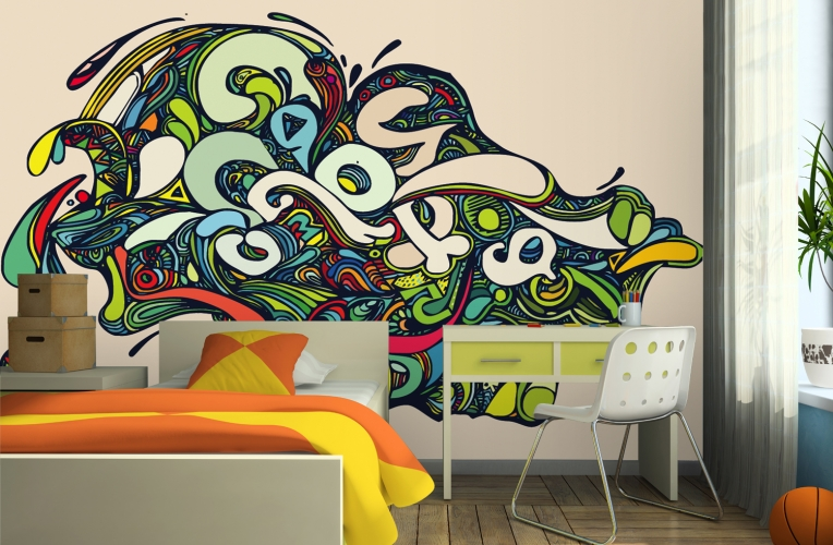 vibrant psychedelic graffiti wall mural custom made to fit your wall 764x500