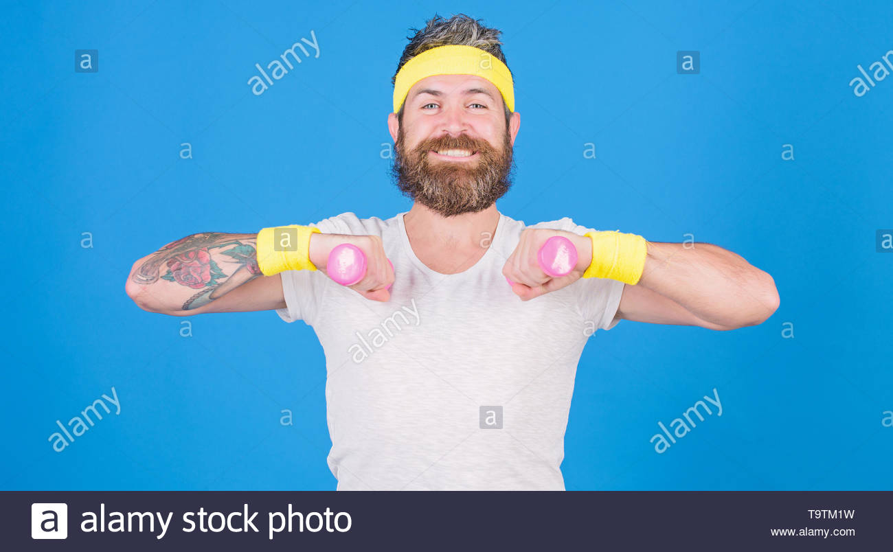 Sportsman retro outfit training blue background Athlete on way to 1300x804