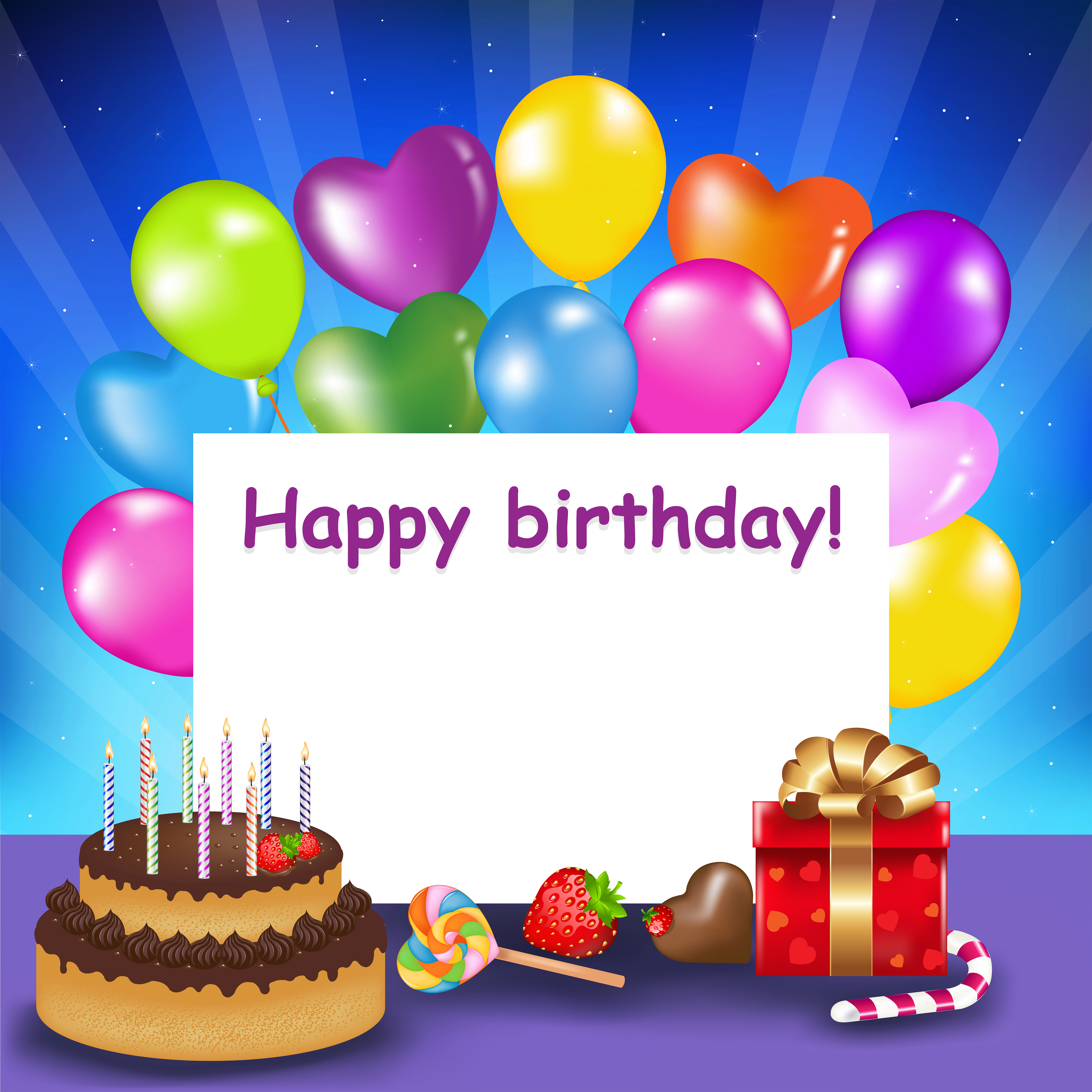 Happy Birthday Background with Cake and Balloons Gallery 6000x6000