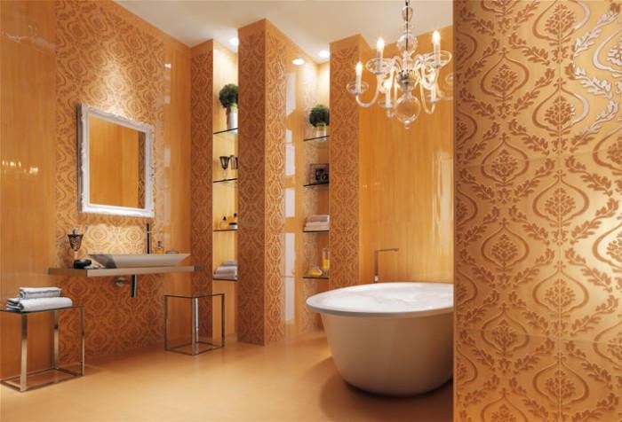 Cream wallpaper look bathroom tiles 700476 freshomes 700x476