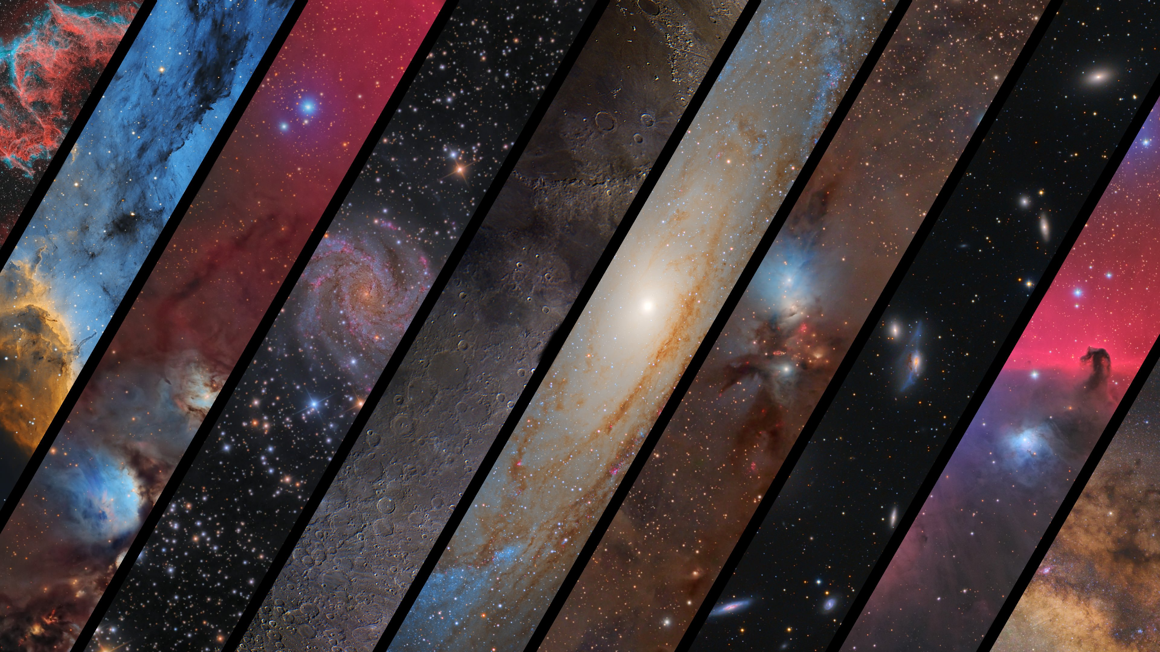 I made a 4k wallpaper consisting of my favorite astronomy images 3840x2160