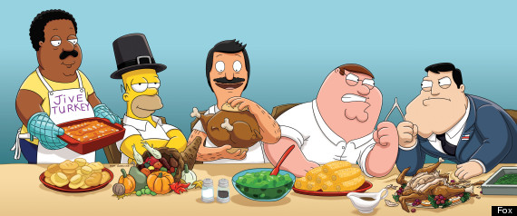 Thanksgiving TV 2012 Homer Simpson Peter Griffin And Foxs Animated 570x238