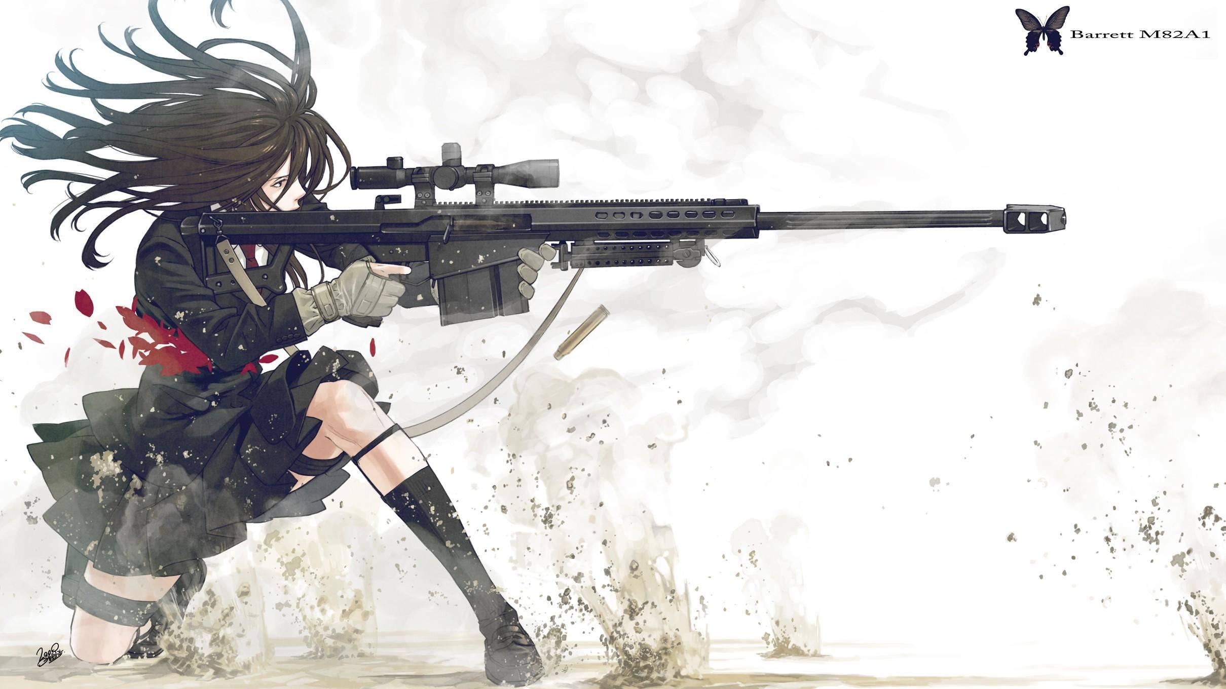 Wallpaper with gun sexy girl