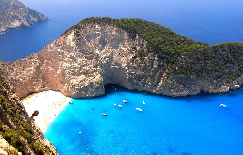 Wallpaper beach rocks island yachts boats Greece The Ionian 1332x850