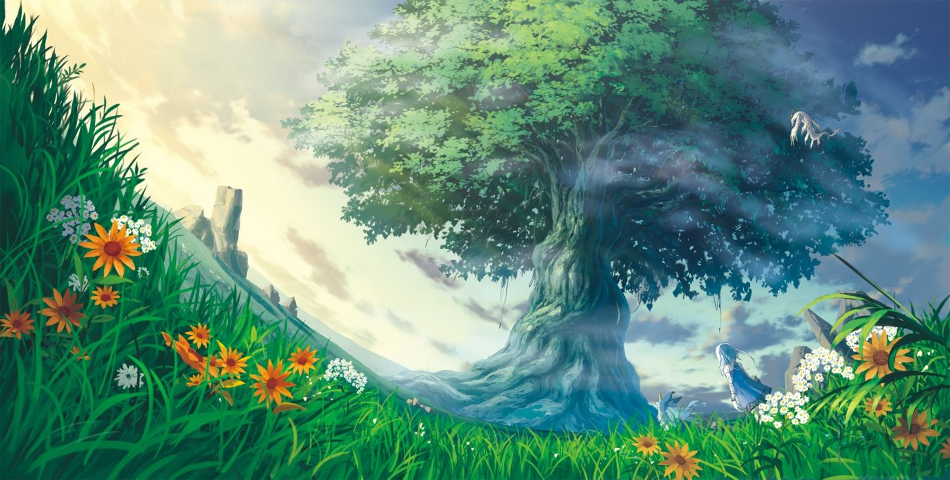 Anime Landscape Anime Girl Tree Flowers Grass Worm View wallpaper 1383x700